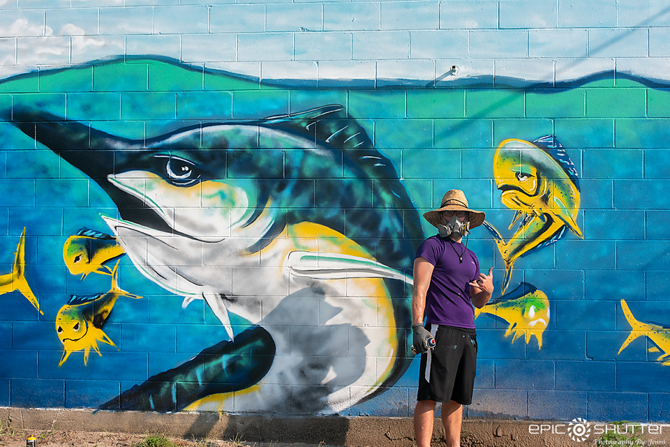 Epic Art, Street Art, Hatteras Village, North Carolina, Cape Hatteras Secondary School Art Teacher Paints the island, Justin Paxton,Epic Shutter Photography, Outer Banks Photographer, Hatteras Island Documentary Photographer, Cape Hatteras National Seashore