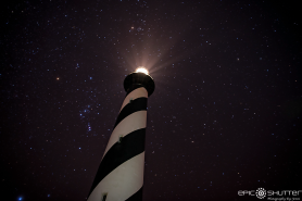 Cape Hatteras Lighthouse, Starlit, Stars, Constellations, Epic Shutter Photography, Outer Banks Photographer, OBX Photographer, Night Photography, Cape Hatteras National Seashore, Buxton, North Carolina, Lighthouse, Orion, Epic Art Prints