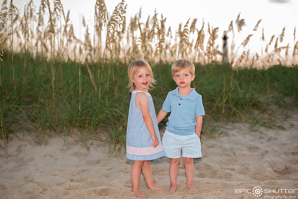 Family Portraits, Cape Hatteras Lighthouse, Epic Shutter Photography, Outer Banks Photographers, Buxton, Hatteras Island, North Carolina, OBX Family Vacation, Cape Hatteras National Seashore, Sunset, Family Beach Photos, Children's Beach Portraits, Twins
