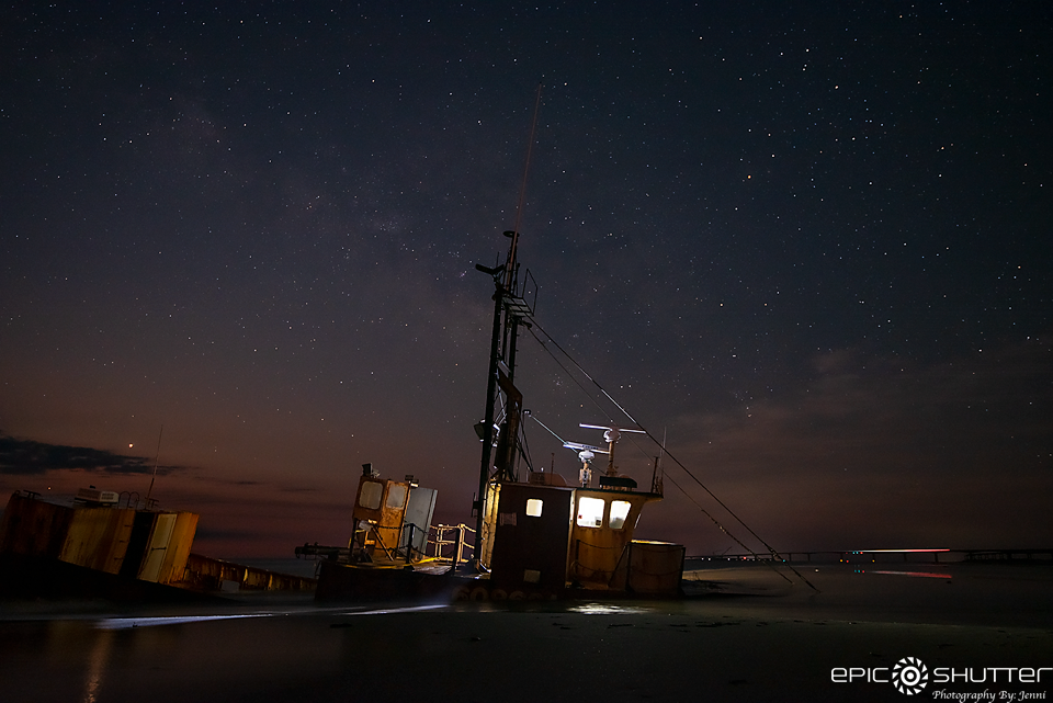 Capturing the Ocean Pursuit Shipwreck, Stars, Moon, Clouds, Oregon Inlet, Nags Head, North Carolina, Outer Banks, Night Photography, Astrophotography, Island Nights, Shipwreck, Outer Banks Shipwrecks, Sinking Ship, Atlantic Ocean Photographer, East Coast Photographers, Epic Shutter Photography, Outer Banks Photographers, Cape Hatteras Photographers, OBX Photographers, OBX Photography, Outer Banks Photographers, Epic Events, Epic Photos, Ocean Pursuit Ship, Eerie Island Nights, Oregon Inlet Fishing, Documentary Photographer
